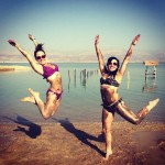 Jumping picture at dead sea