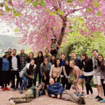Group with flower blossom tree