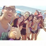 Group selfie picture at beach