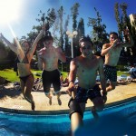 Jumping into the pool-selfie stick picture
