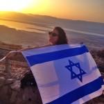 Masada sunrise with Israeli flag